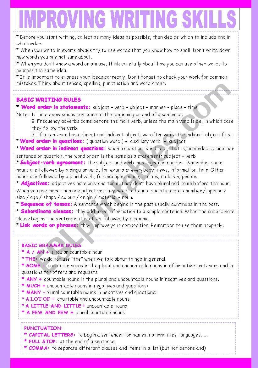 IMPROVING WRITING SKILLS 1/2 worksheet
