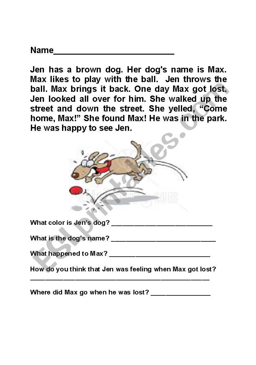 Max the Dog worksheet