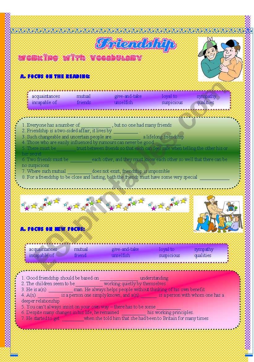 reading: friendship worksheet