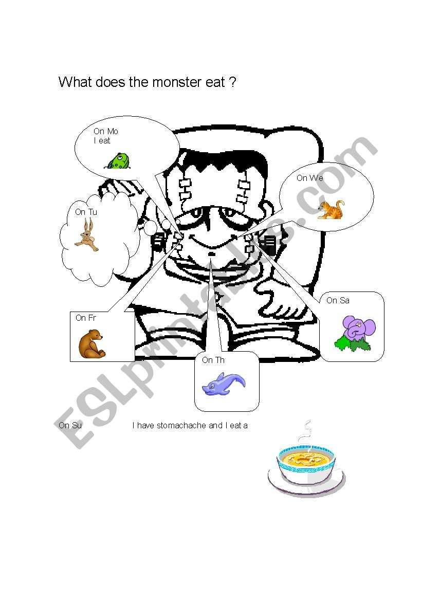 What does the monster eat? worksheet