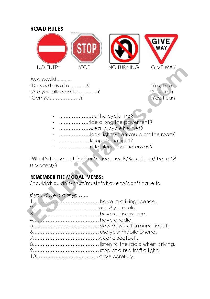 road rules worksheet
