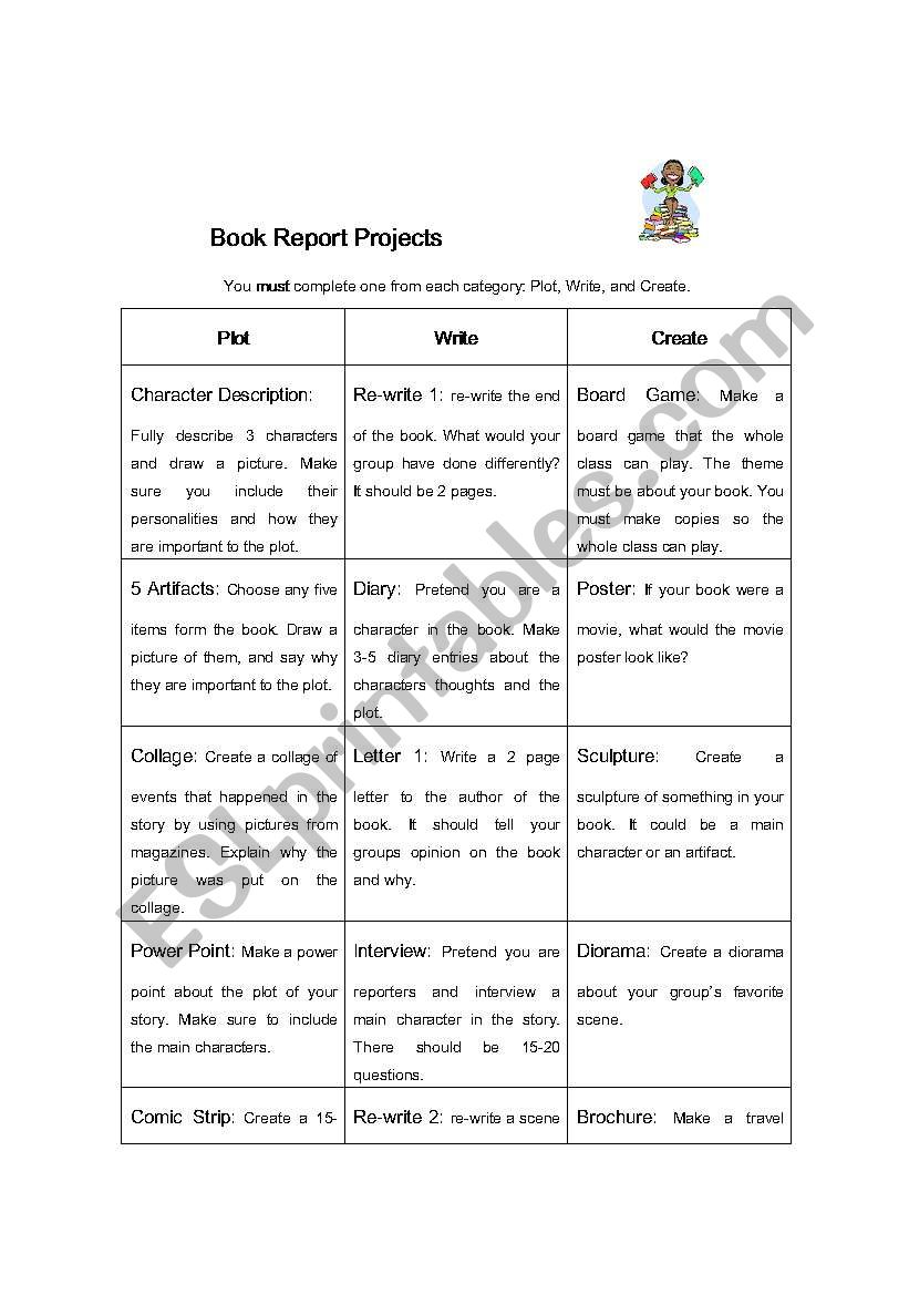 Book Report Projects worksheet