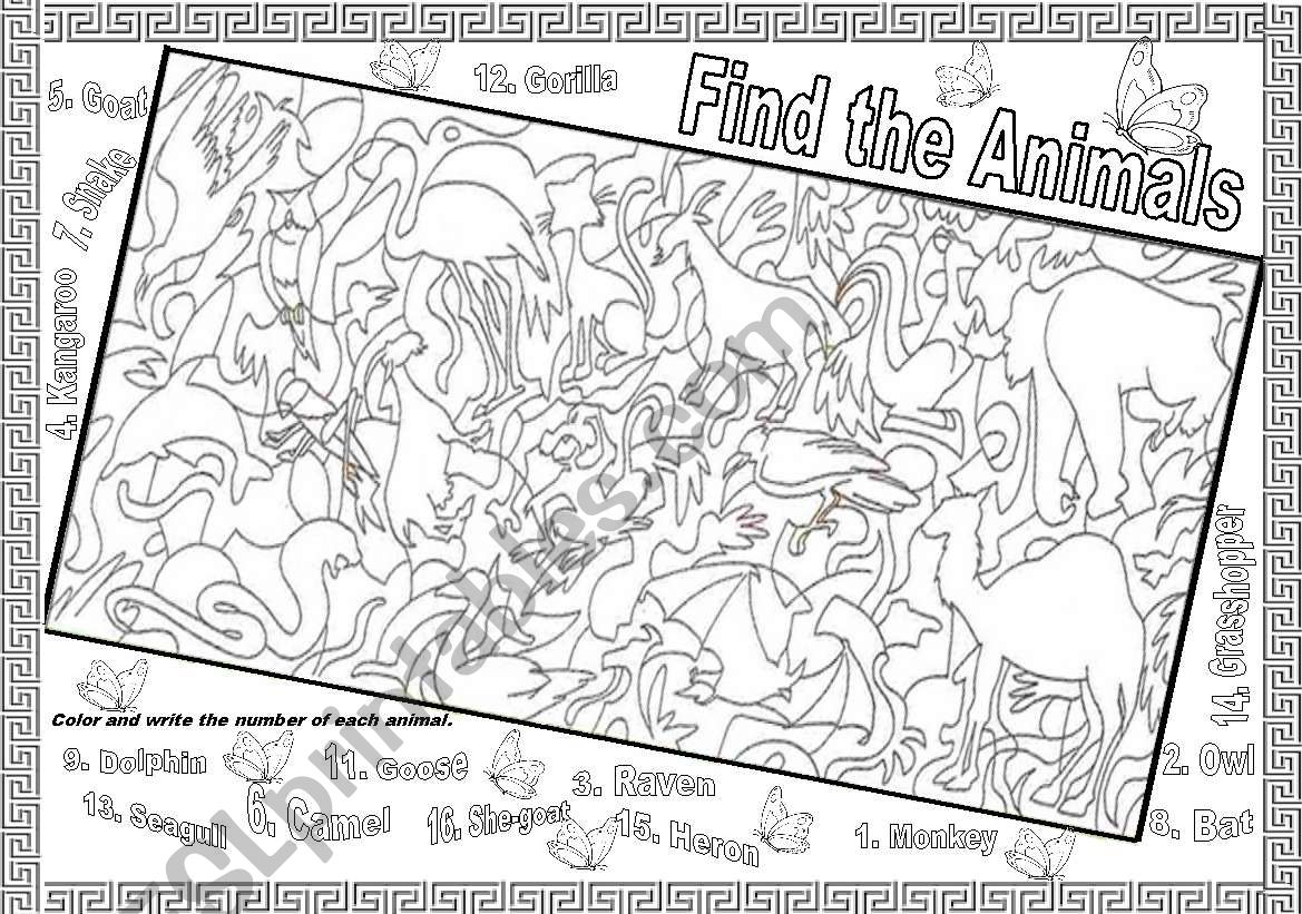FIND THE ANIMALS worksheet