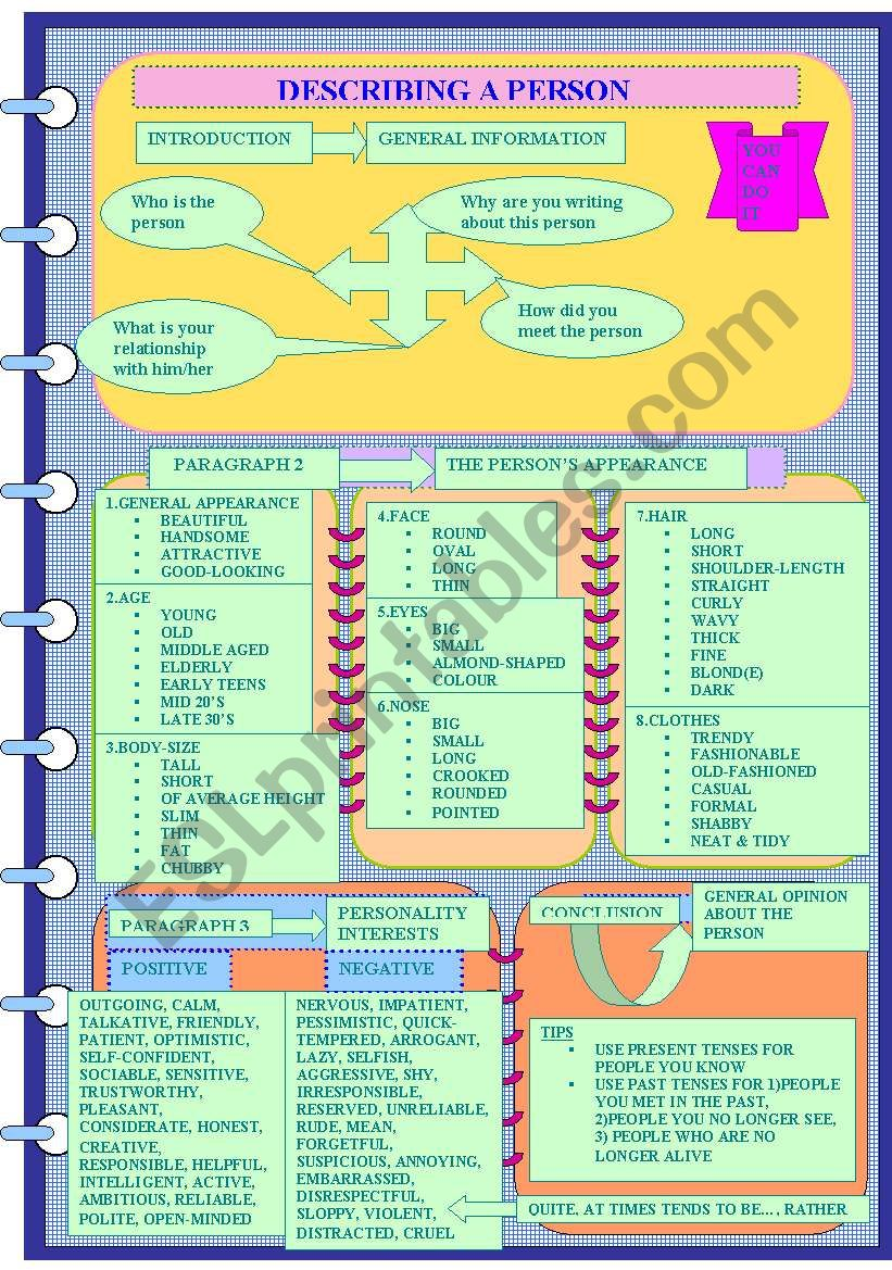 DESCRIBING A PERSON worksheet