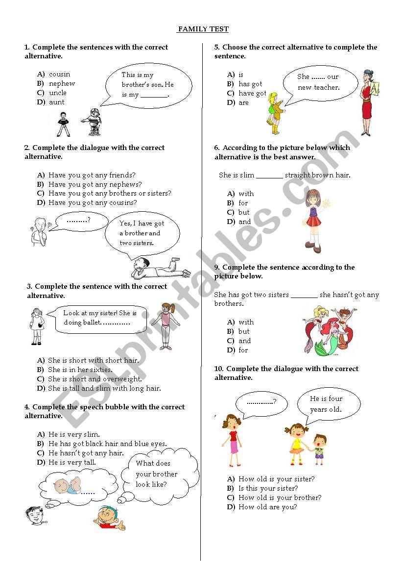 Family Test worksheet