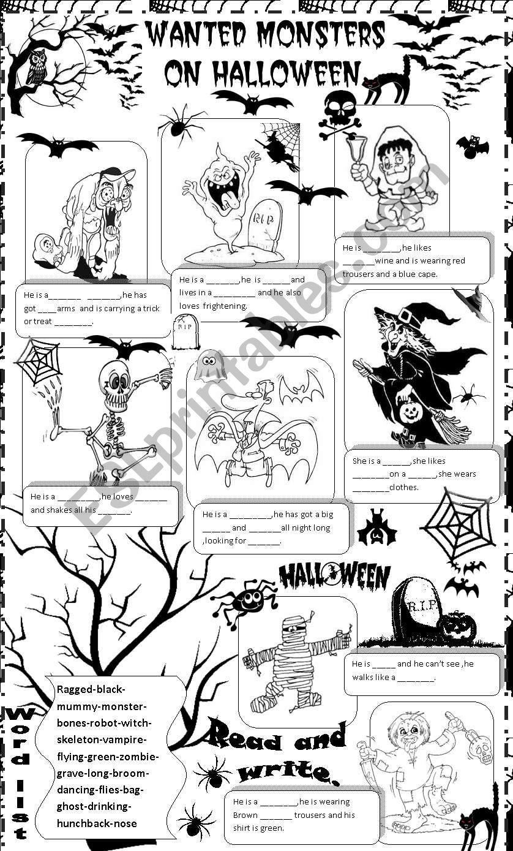 wanted monsters on halloween worksheet