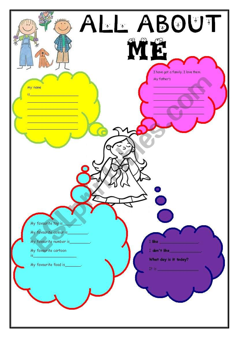 all about me for girls worksheet