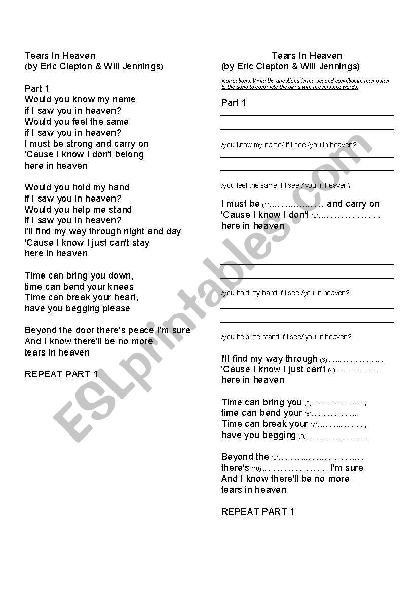English worksheets: Tears in Heaven - Eric Clapton