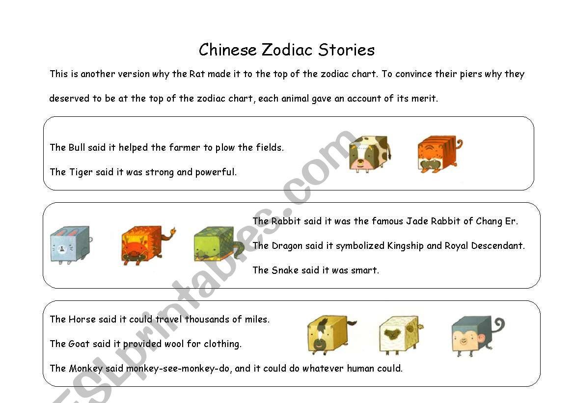 Chinese Zodiac Story worksheet