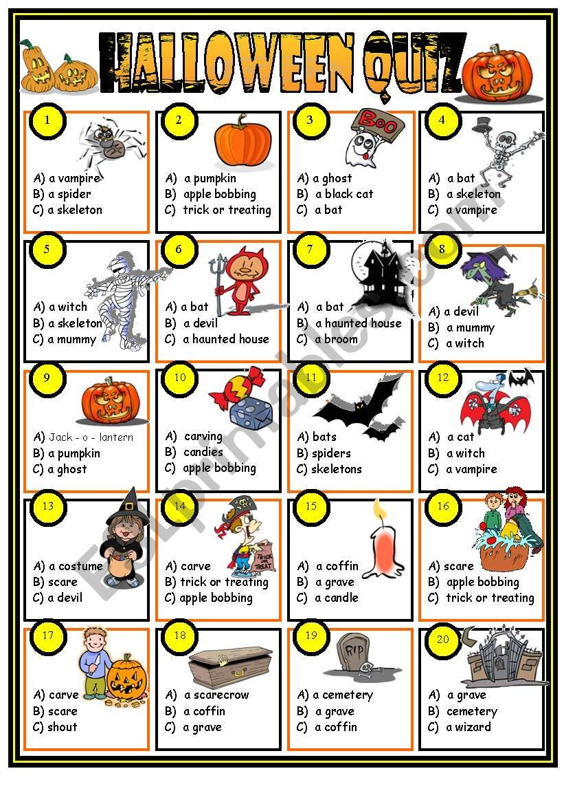 photo relating to Halloween Trivia Questions and Answers Free Printable identify Halloween quiz (principal incorporated) - ESL worksheet through Jazuna