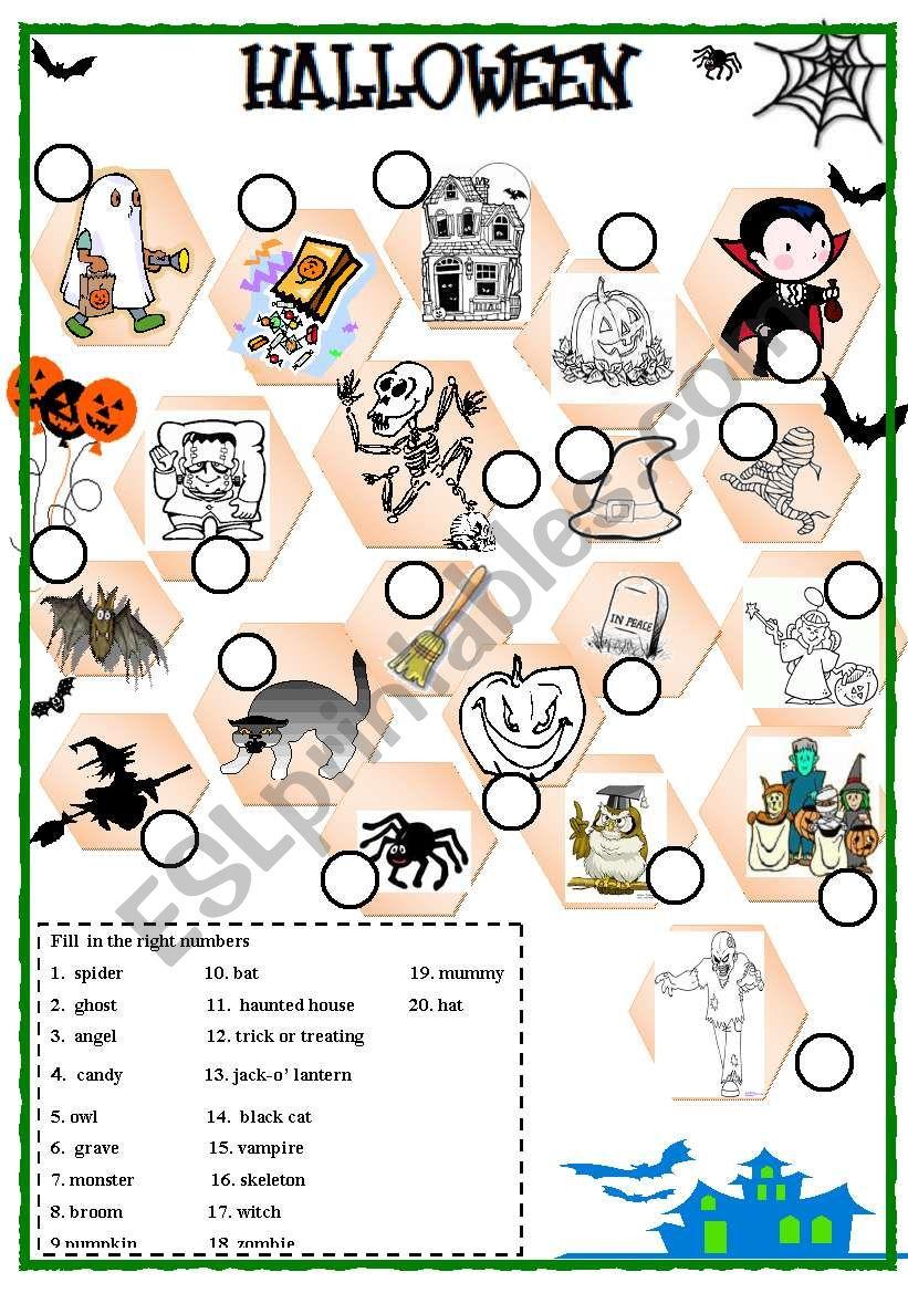 Halloween exercise worksheet