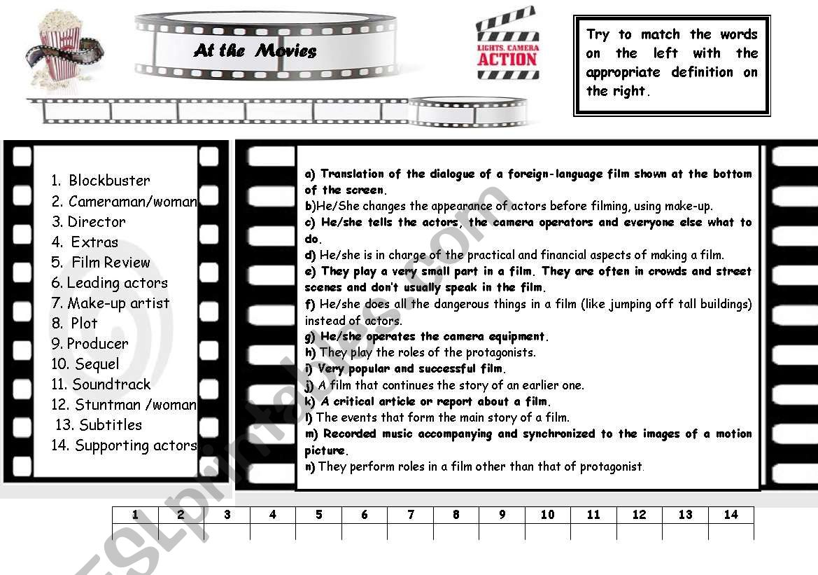 At the movies worksheet