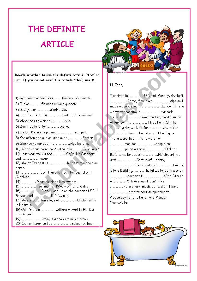 THE DEFINITE ARTICLE worksheet