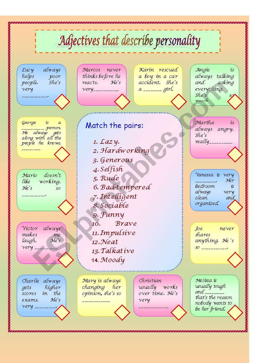 Adjectives That Describe Personality Esl Worksheet By Vlay