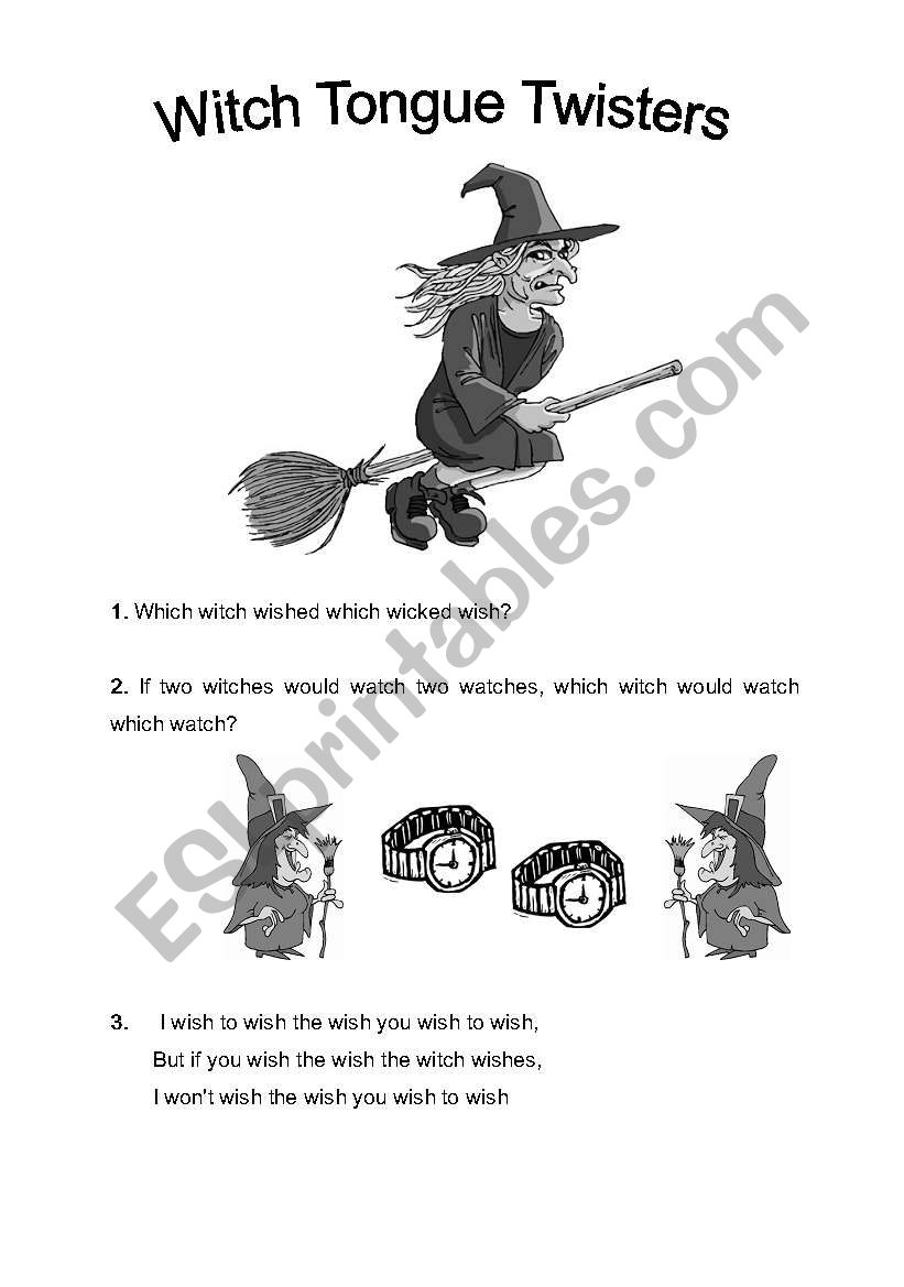English Worksheets Witch Tongue Twisters For Halloween