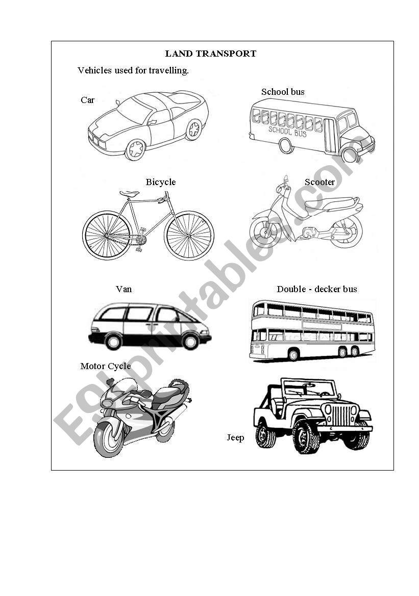 English worksheets: Land Transport