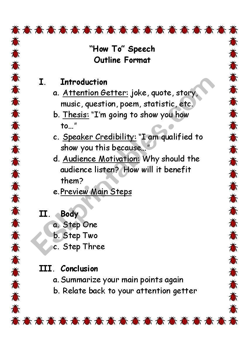 English worksheets: How To Speech Outline