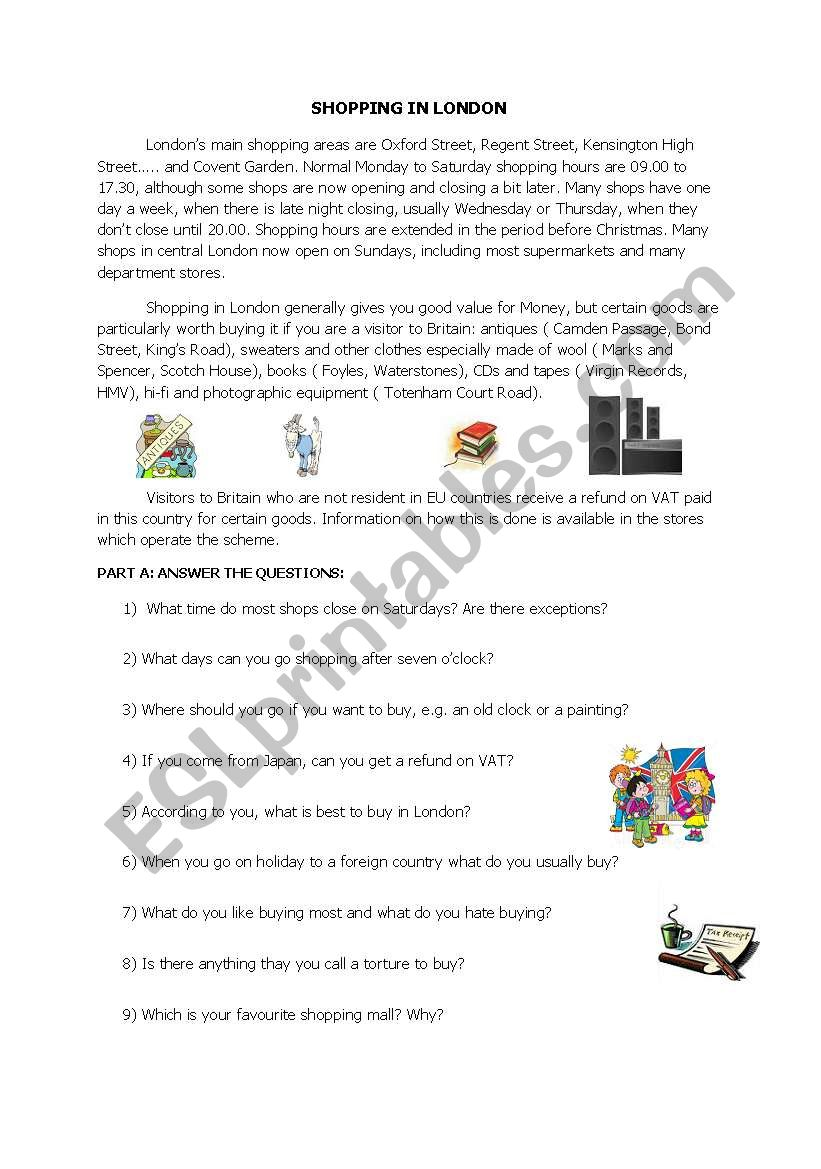 - SHOPPING IN LONDON, A Reading Text With Comprehension Questions