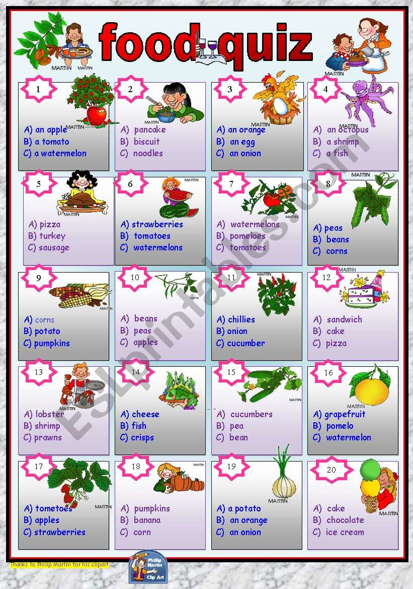 Food quiz -multiple choice with key.