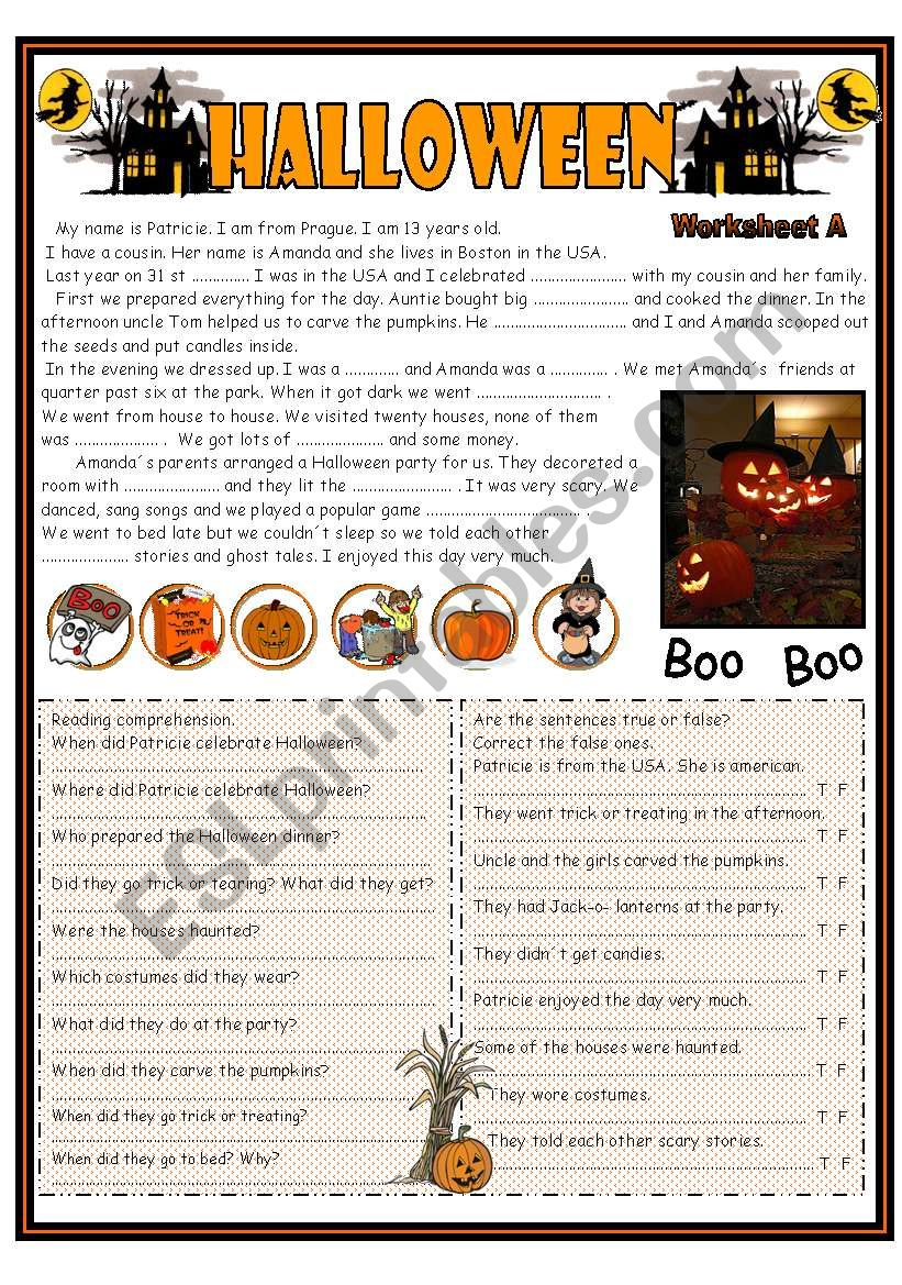 Halloween  Reading ( focus on past simple tense) including worksheets A and B