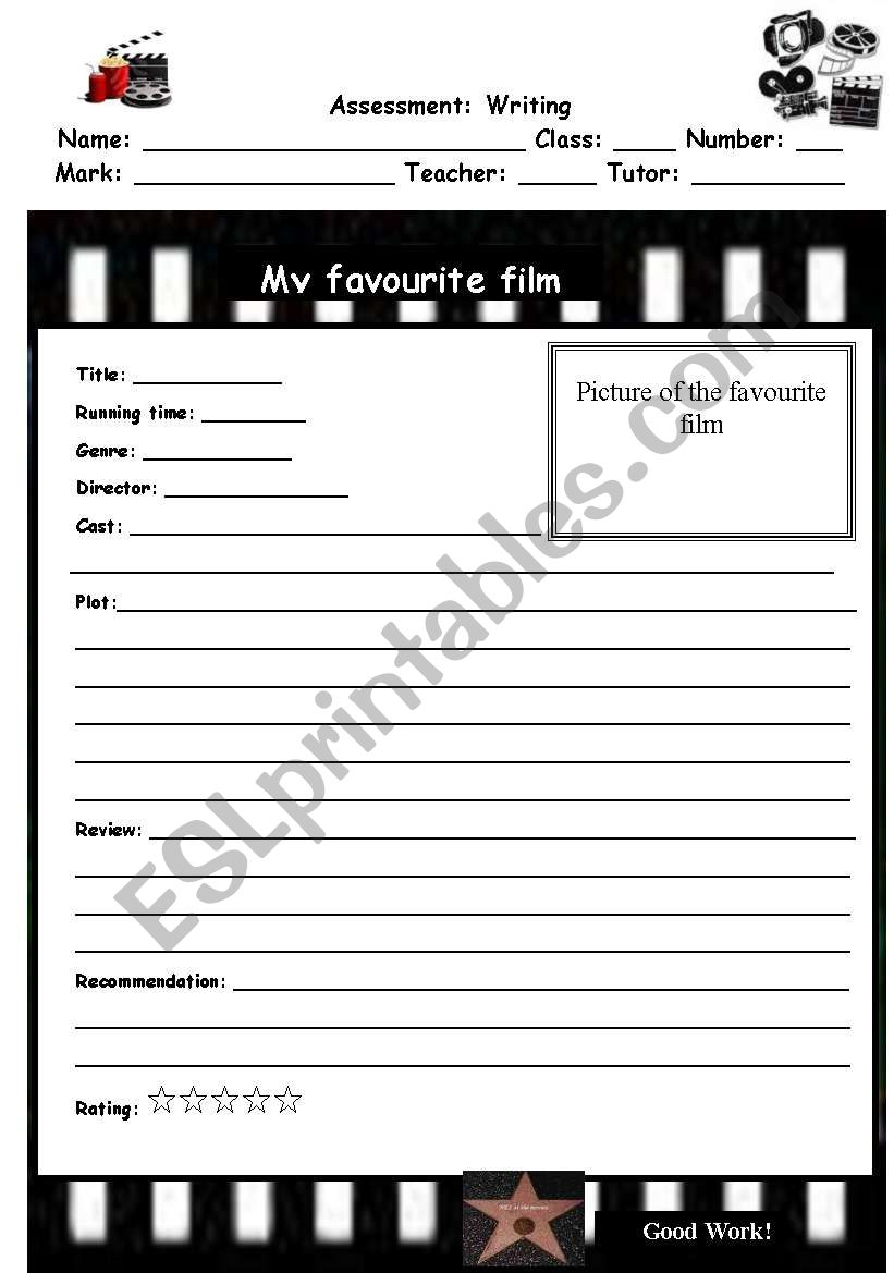 Writing a film review worksheet