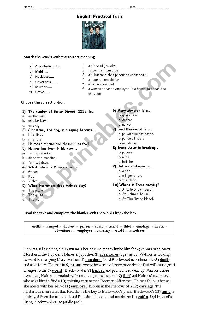 Sherlock Holmes Movie 2009 worksheet