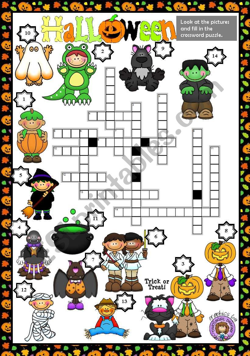 image regarding Halloween Crossword Puzzle Printable referred to as HALLOWEEN - CROSSWORD PUZZLE - ESL worksheet via macomabi
