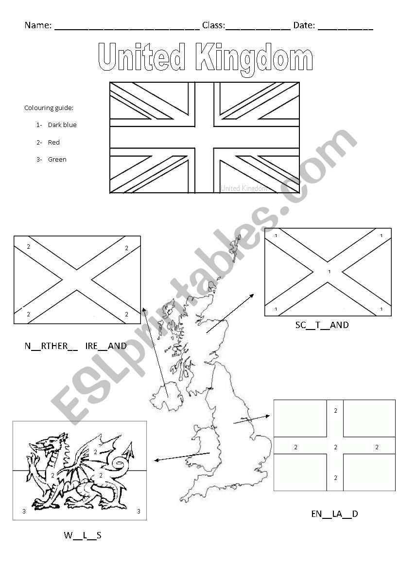 United Kingdom Flags worksheet