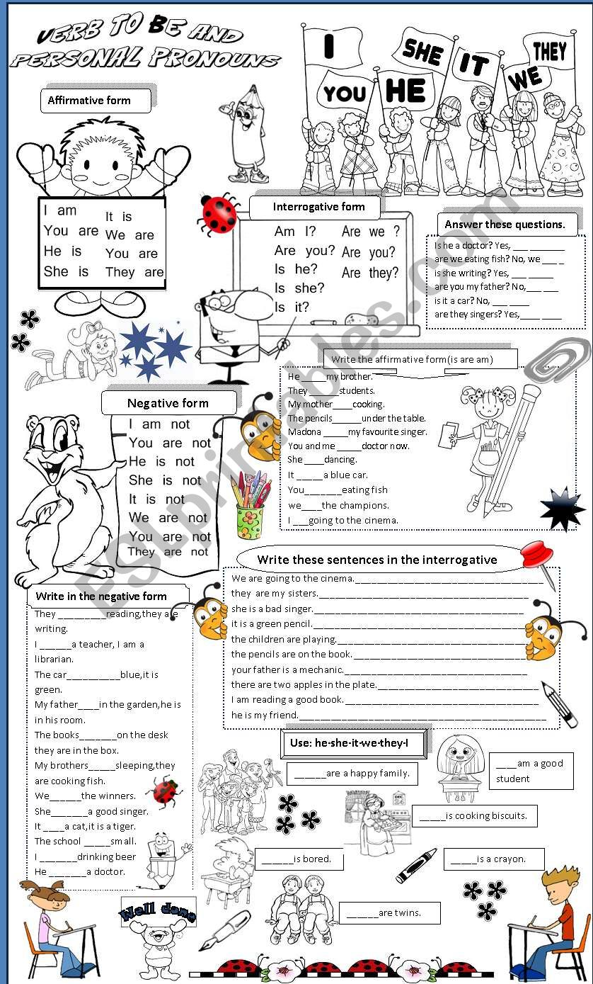 to be and personal pronouns worksheet