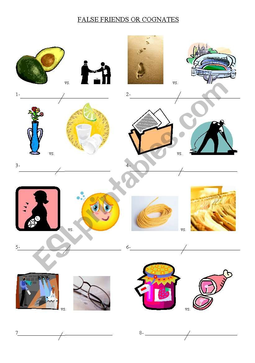 English Worksheets False Friendscognates Spanish English