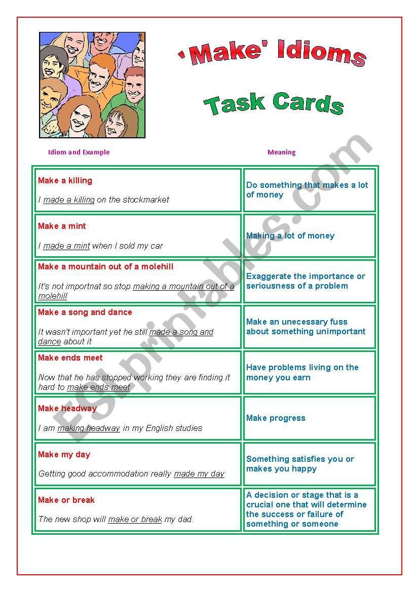 ´Make´ Idioms : Task Cards worksheet