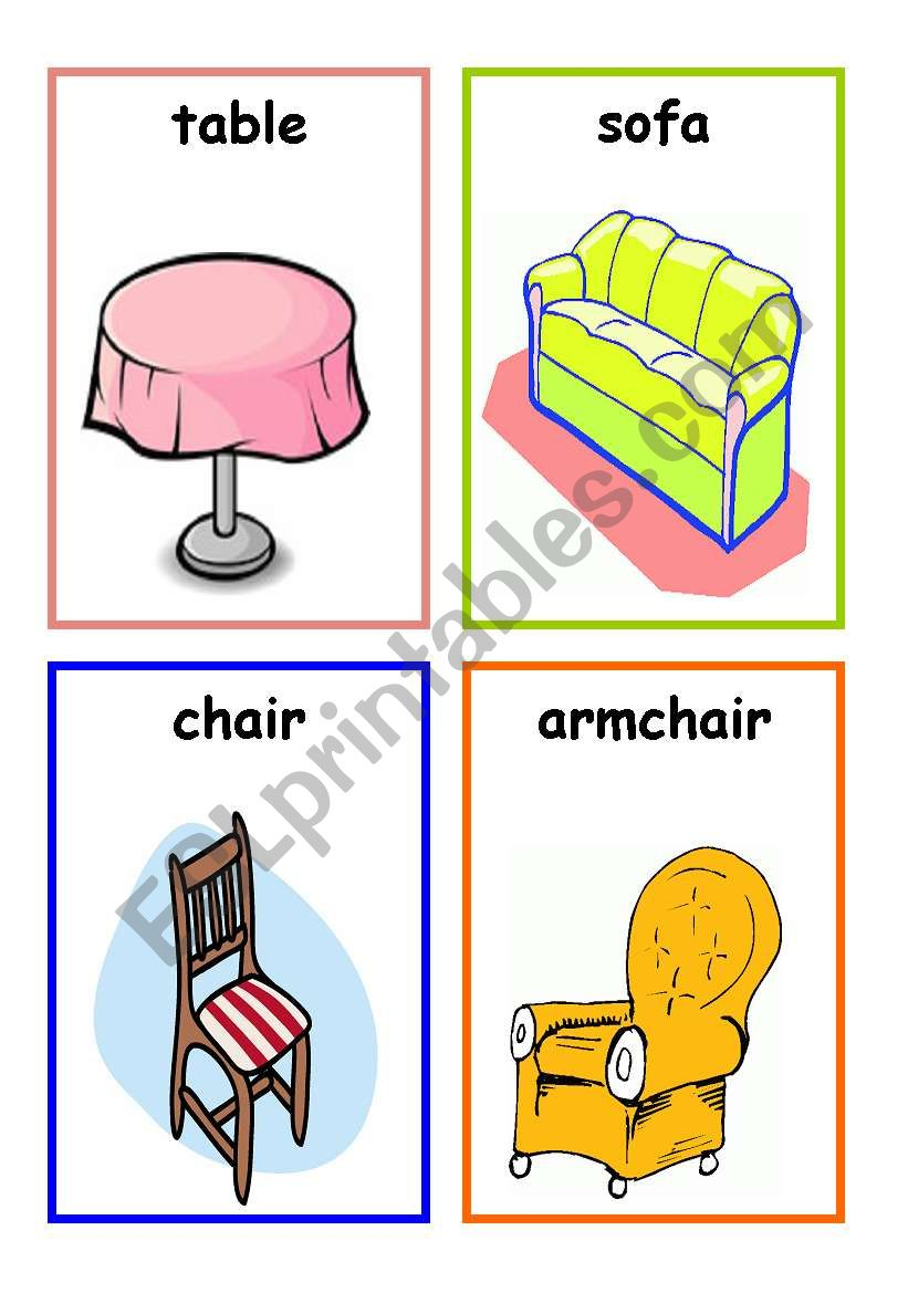 furniture flashcards - ESL worksheet by El-Samreyah