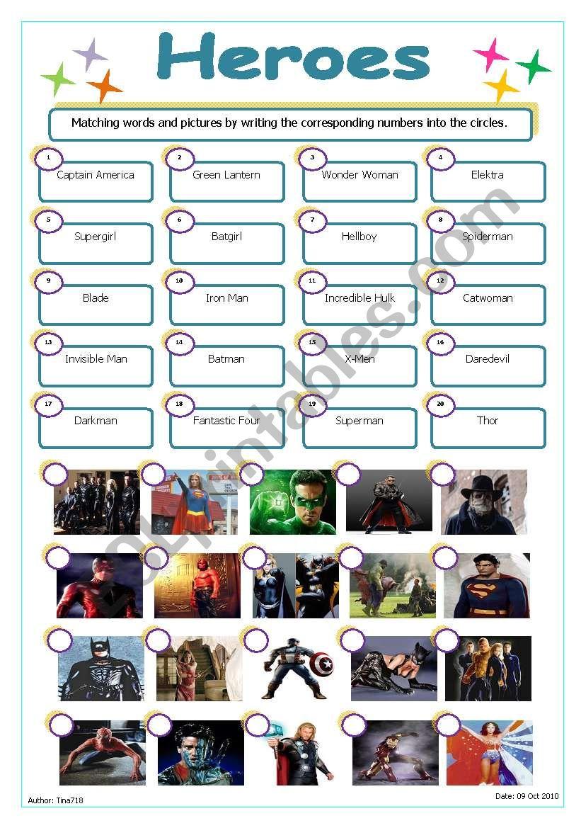 Heroes worksheet
