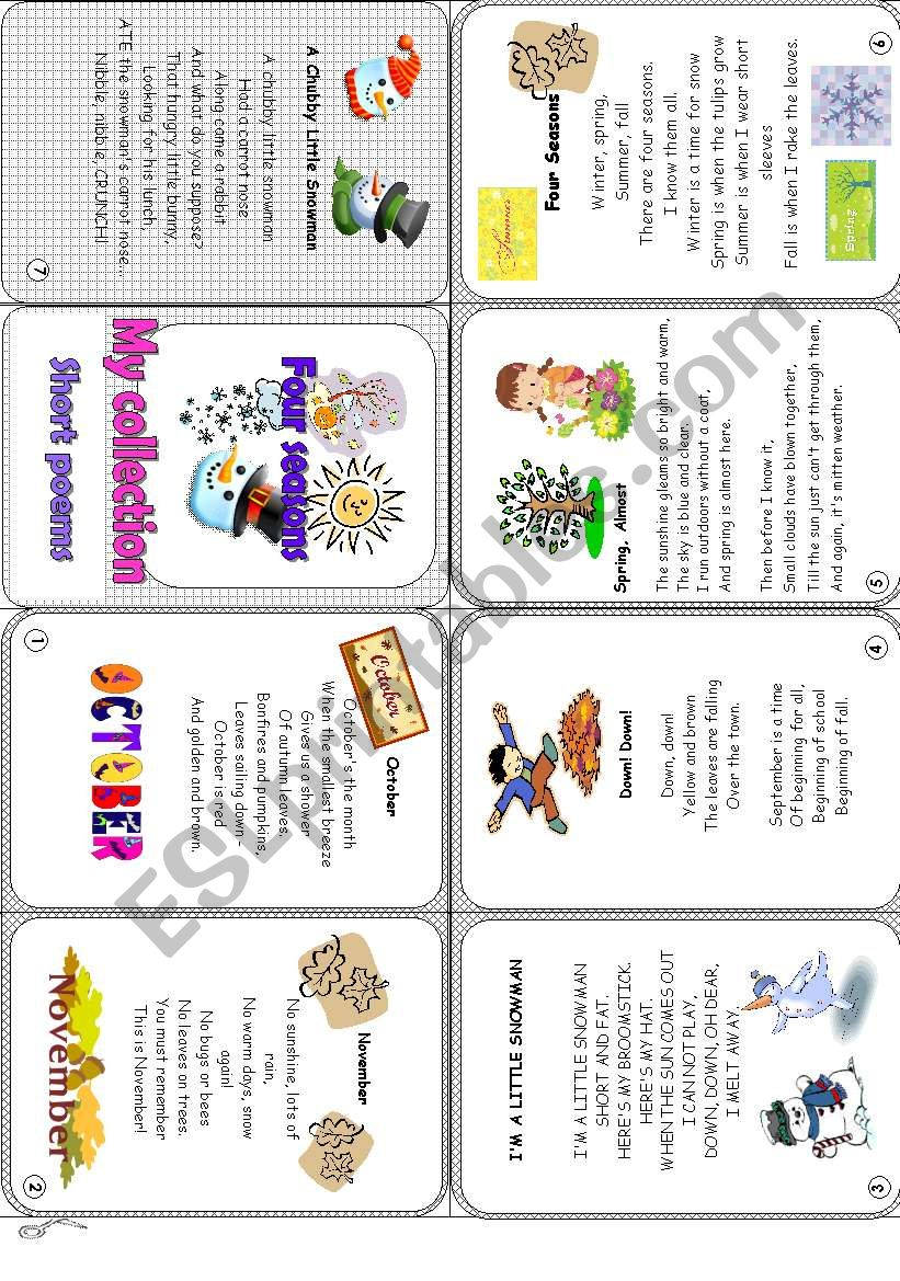 A collection of short poems worksheet