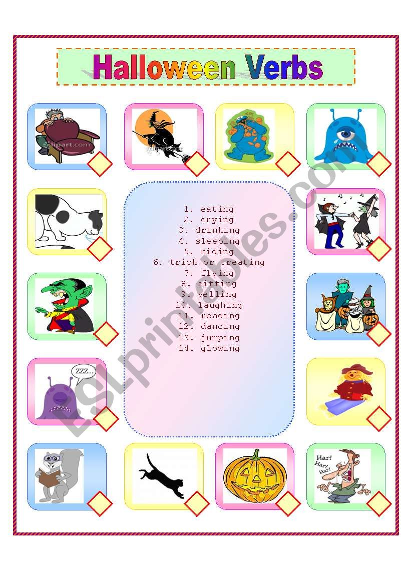 Halloween Verbs Esl Worksheet By Hschneider