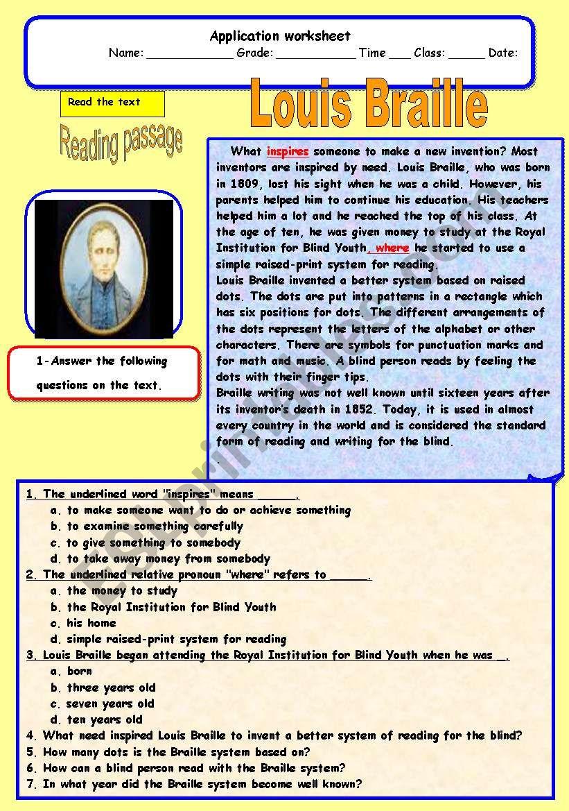 Louis Braille Esl Worksheet By Adel A