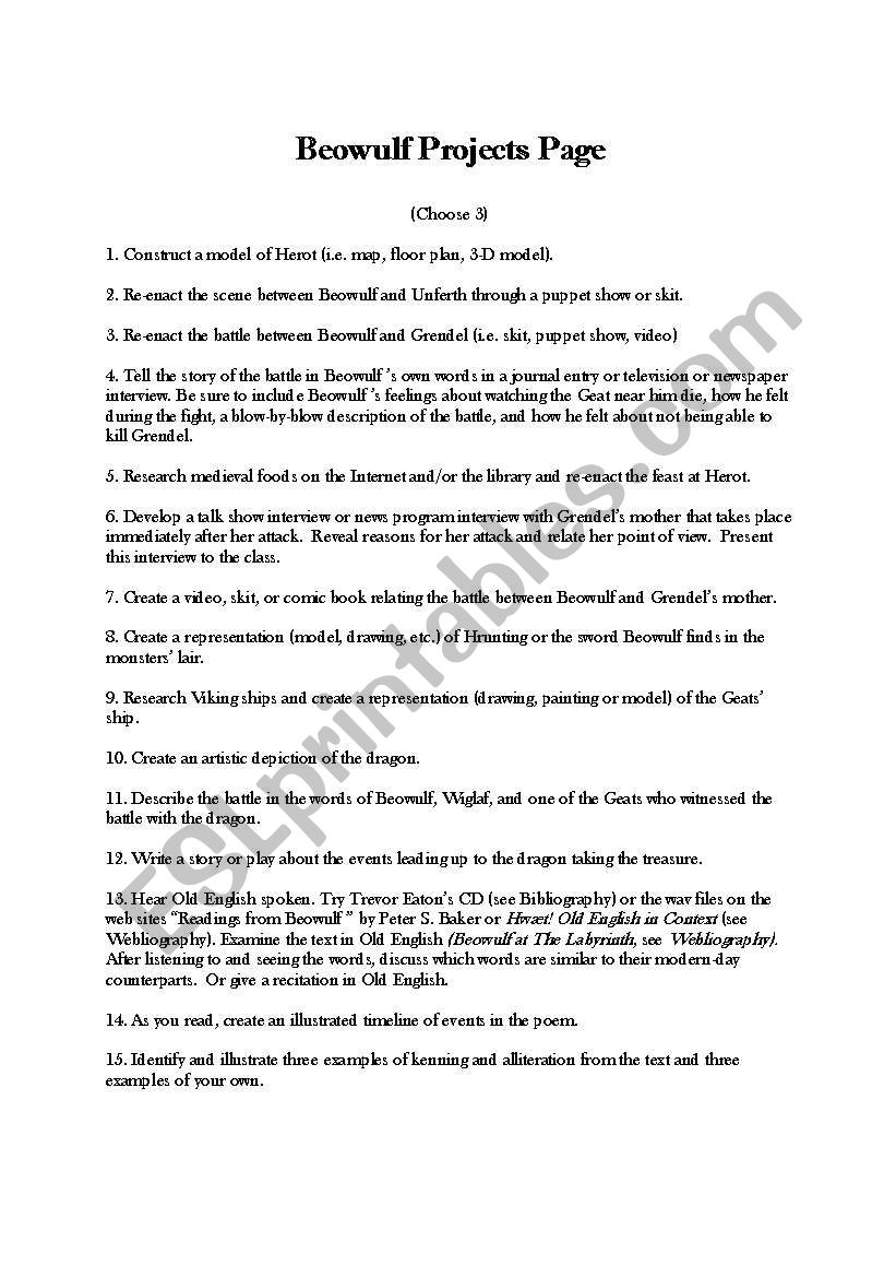 Worksheets Beowulf Worksheets english worksheets beowulf projects worksheet