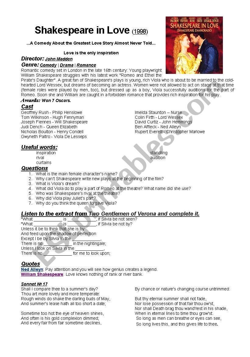 Shakespeare in Love (movie worksheet) - ESL worksheet by ...