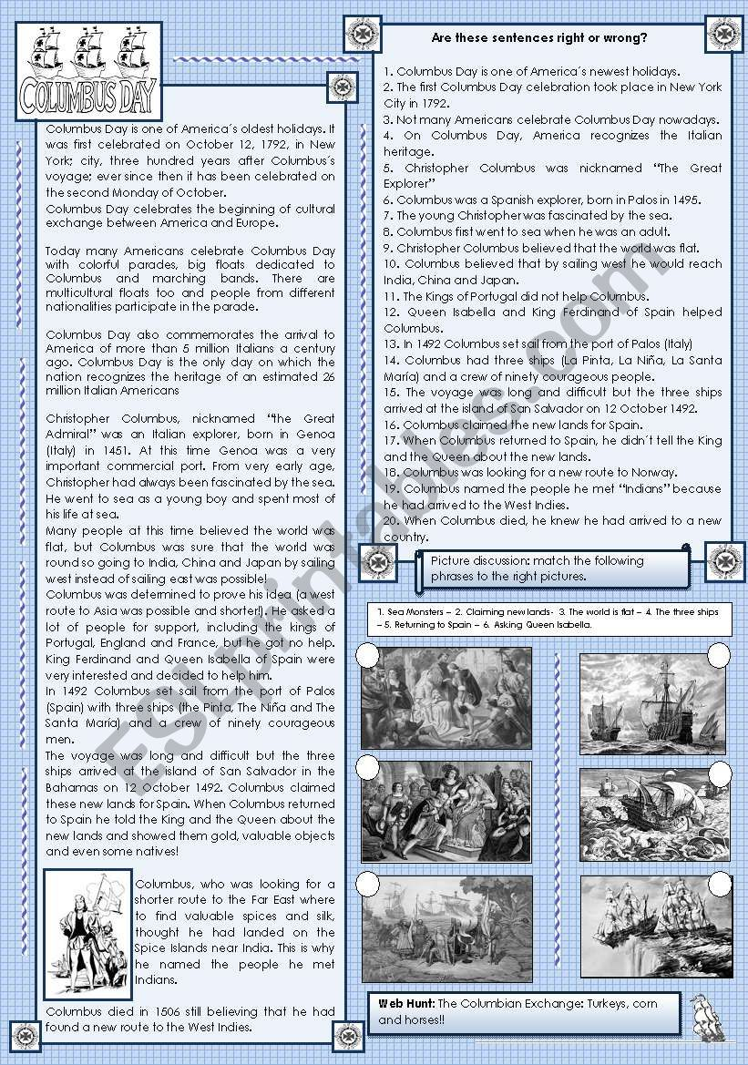 Christopher columbus columbus day esl worksheet by maguyre christopher columbus columbus day ibookread Download