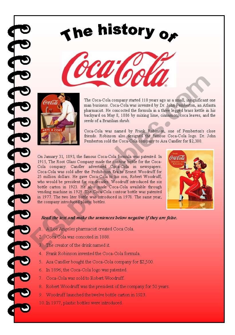 The history of Coca-Cola (reading and active/passive exercise in the past)