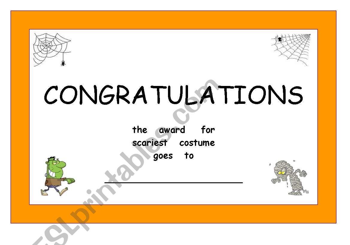 halloween certificates worksheet