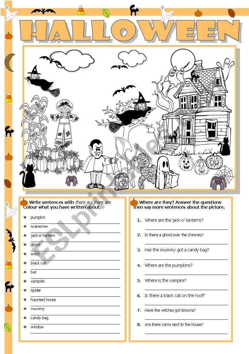 Halloween scene worksheet
