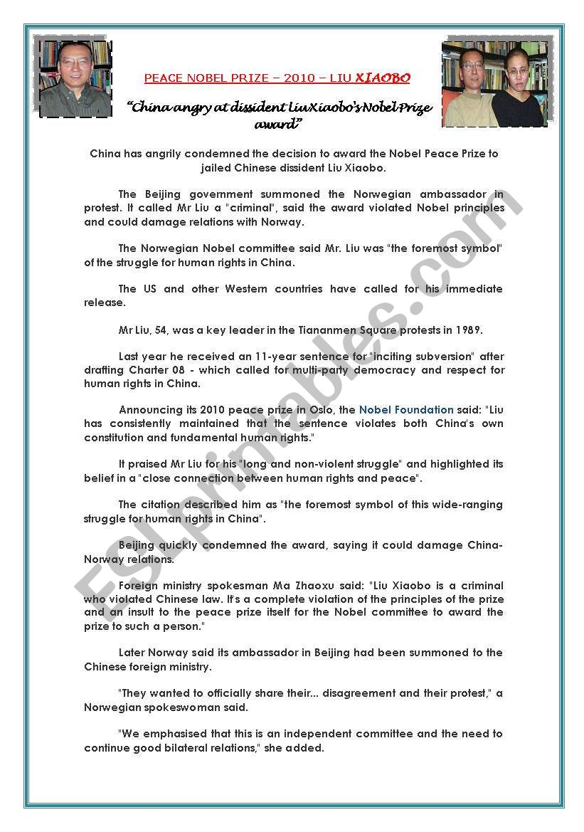 PEACE NOBEL PRIZE  worksheet