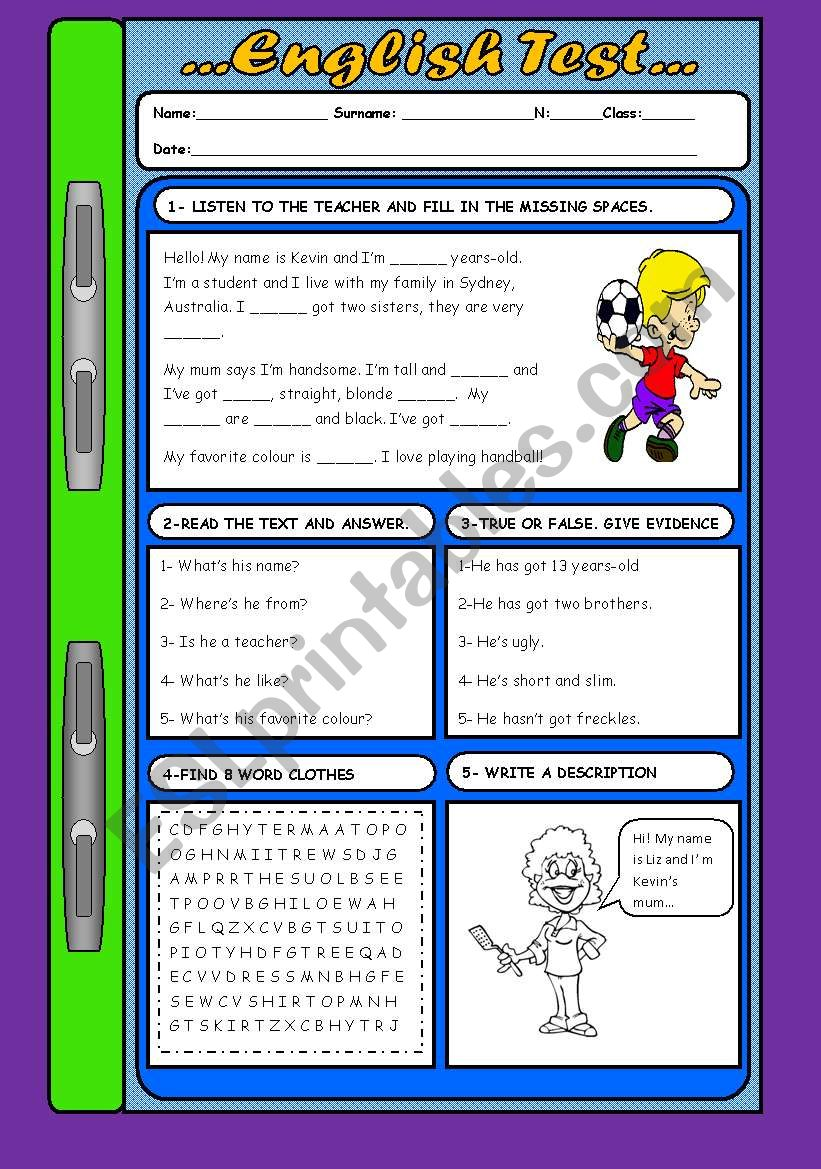 English Test... (With KEY) worksheet