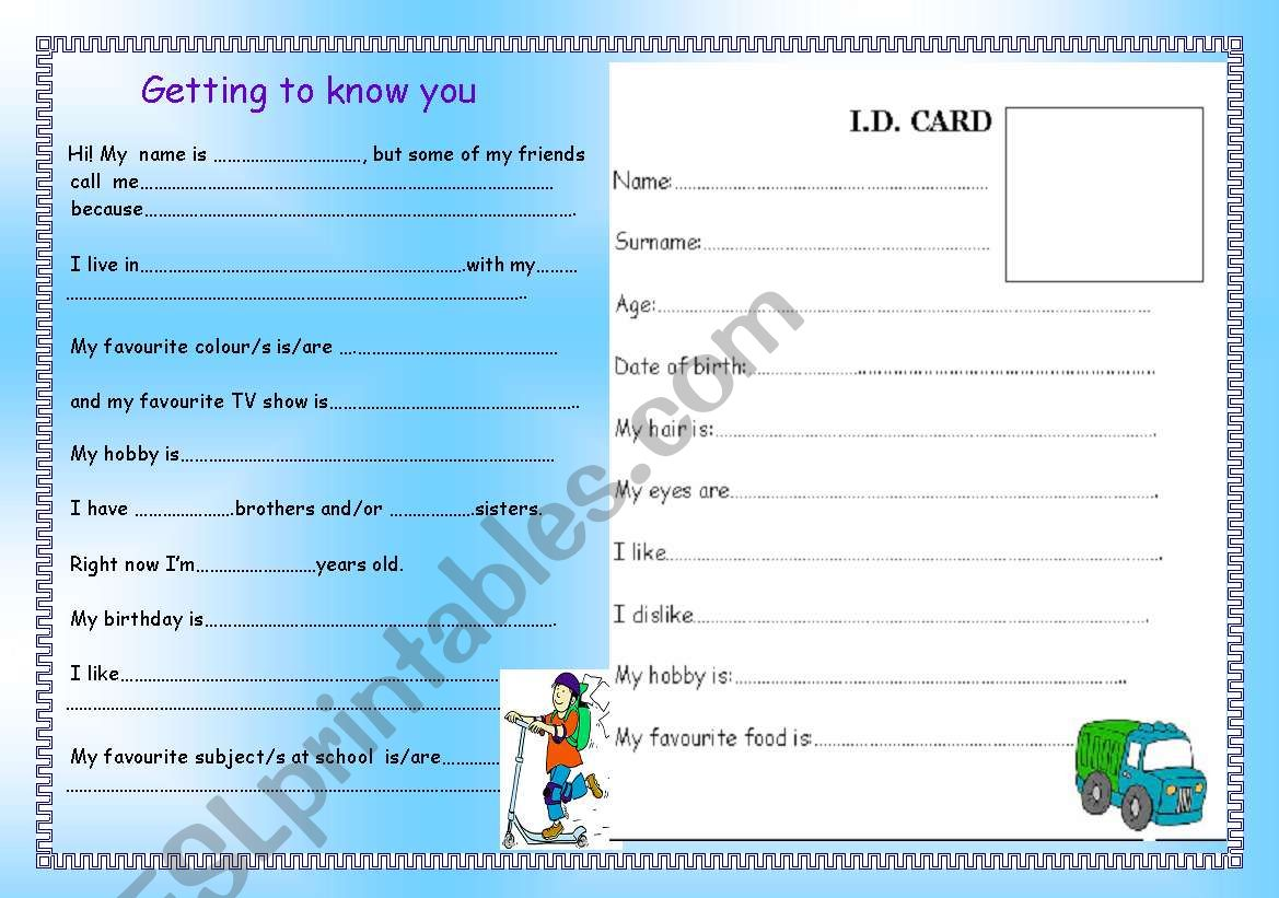 Getting to know you! worksheet