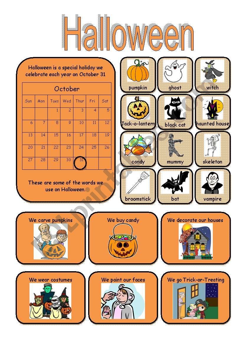 Halloween Vocabulary worksheet