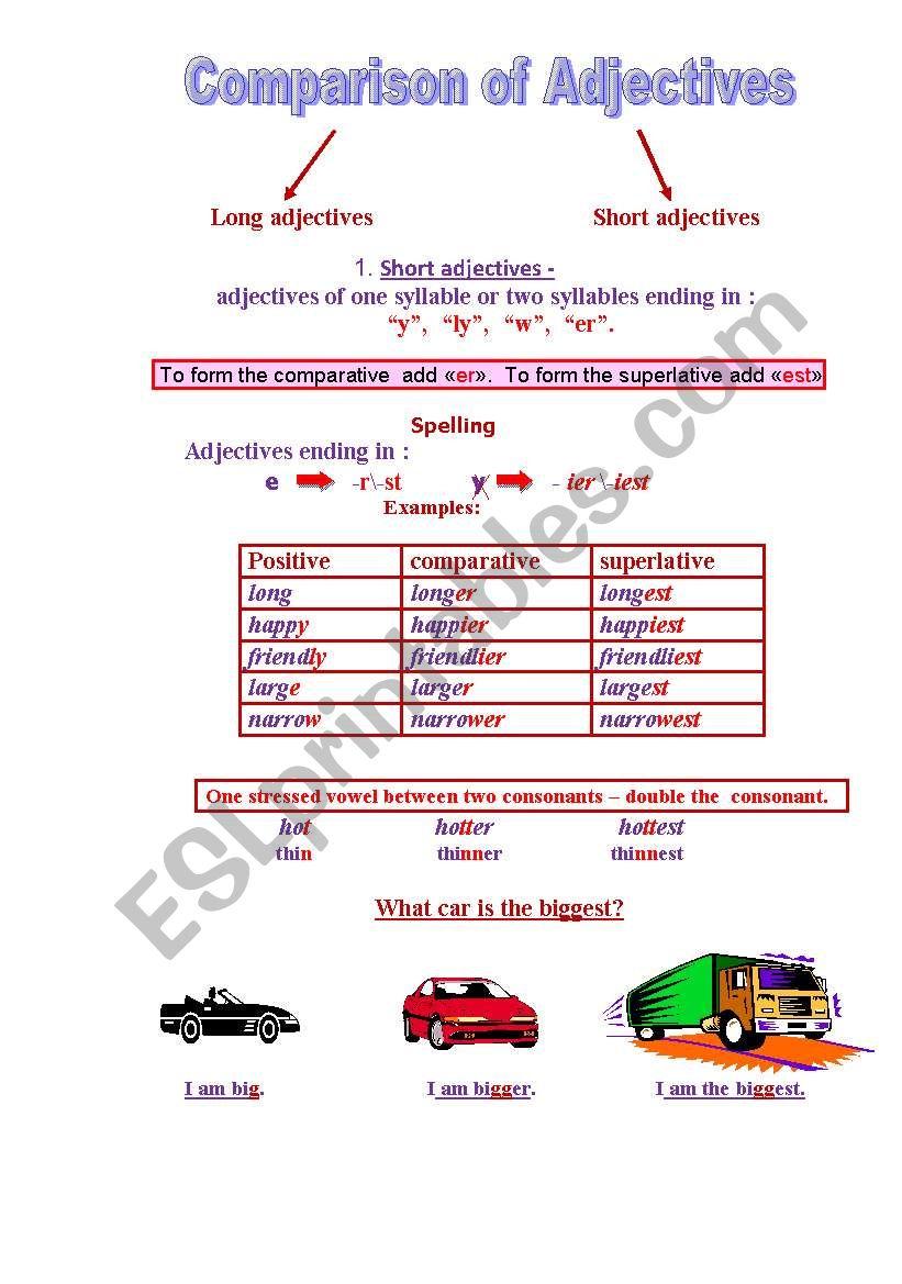 Ñomparison of adjectives worksheet