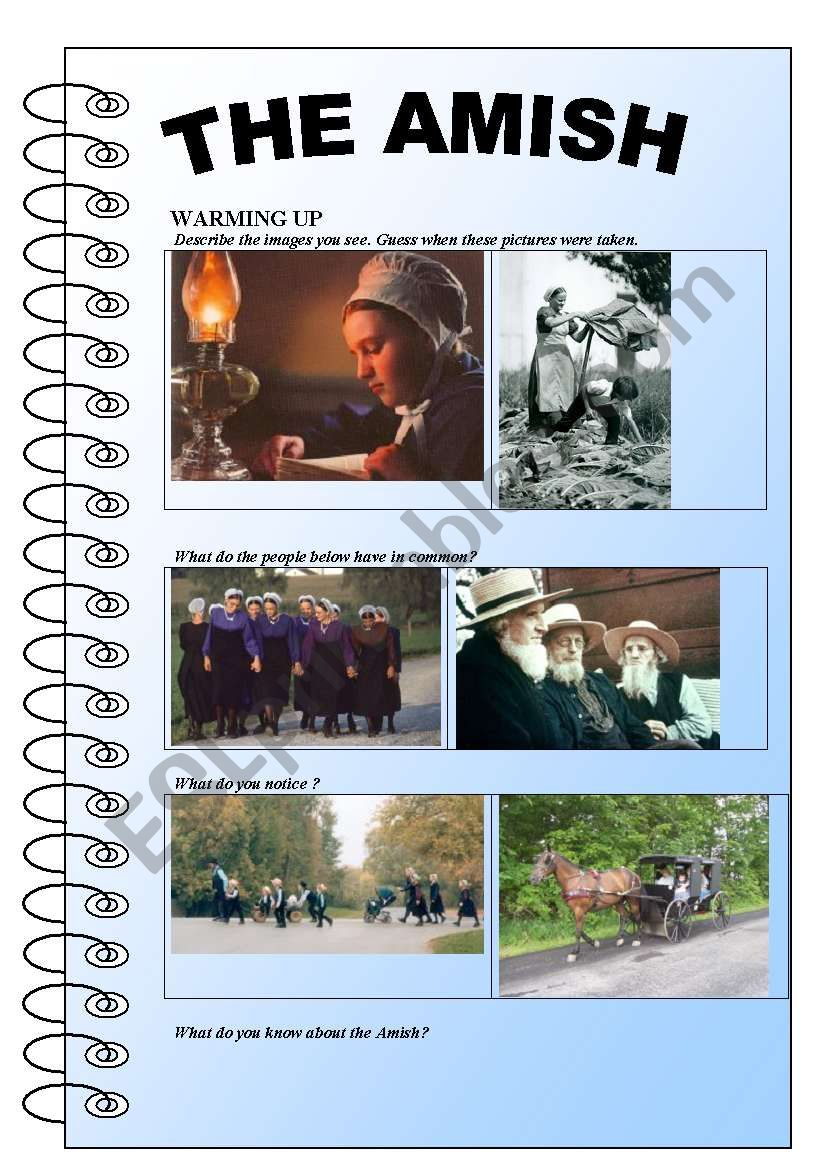 The Amish (reading and comprehension, vocabulary, daily routine...)