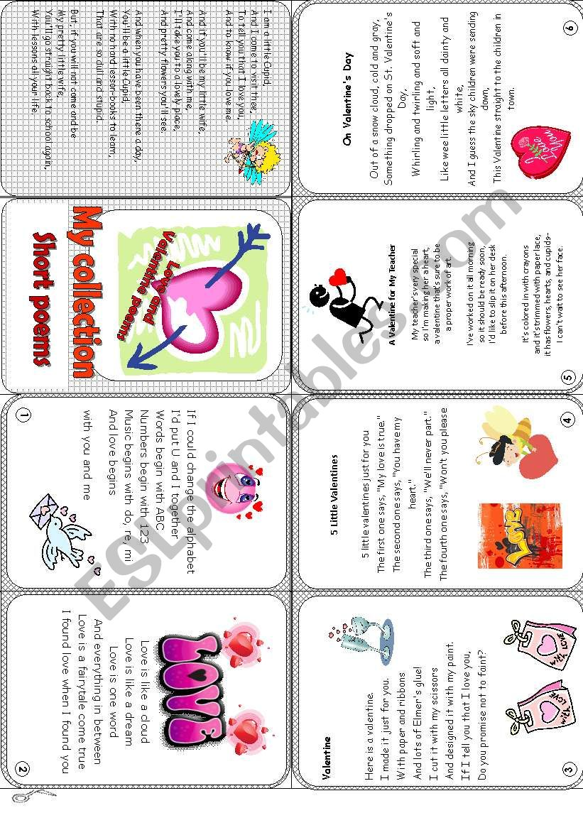 A short collection of love poems - ESL worksheet by Andrea_cro