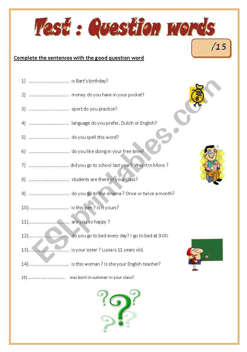 test question words esl worksheet by july the strange